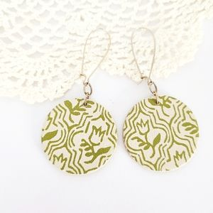 Boho Sage Green Floral Round Wooden Drop Earrings